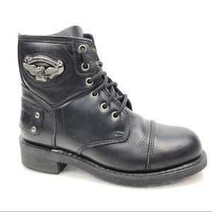Harley Davidson Leather Spell Out Ankle Boots